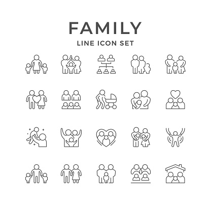 Set line icons of family