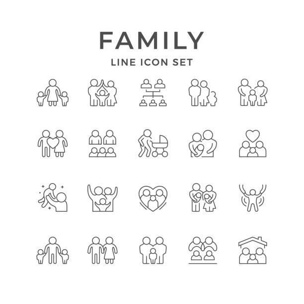 ilustrações de stock, clip art, desenhos animados e ícones de set line icons of family - family