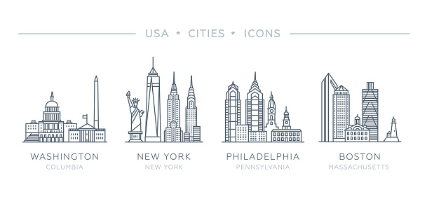 Set line icons of famous and largest cities of USA.
