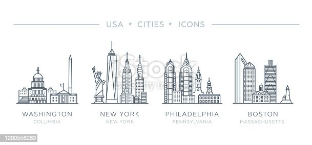 Vector illustration, flat design. State of Columbia, New York, Pennsylvania, Massachusetts. Philadelphia, Boston, New York City, Washington