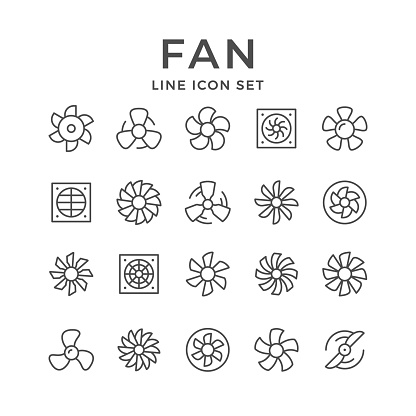 Set line icons of fan isolated on white. Vector illustration