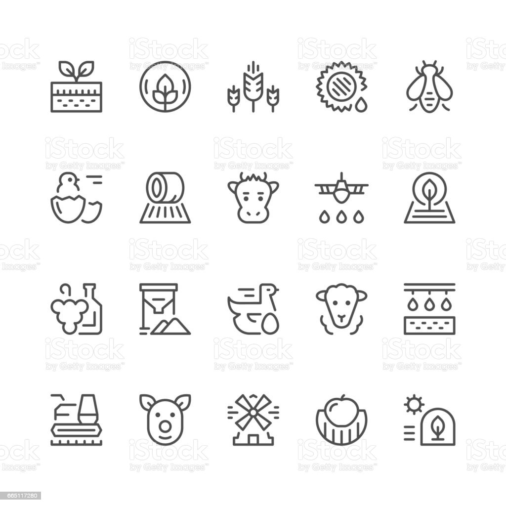 Set line icons of farming and agriculture vector art illustration