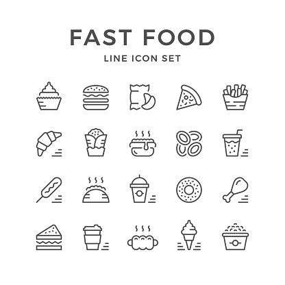 Set line icons of fast food isolated on white. Vector illustration