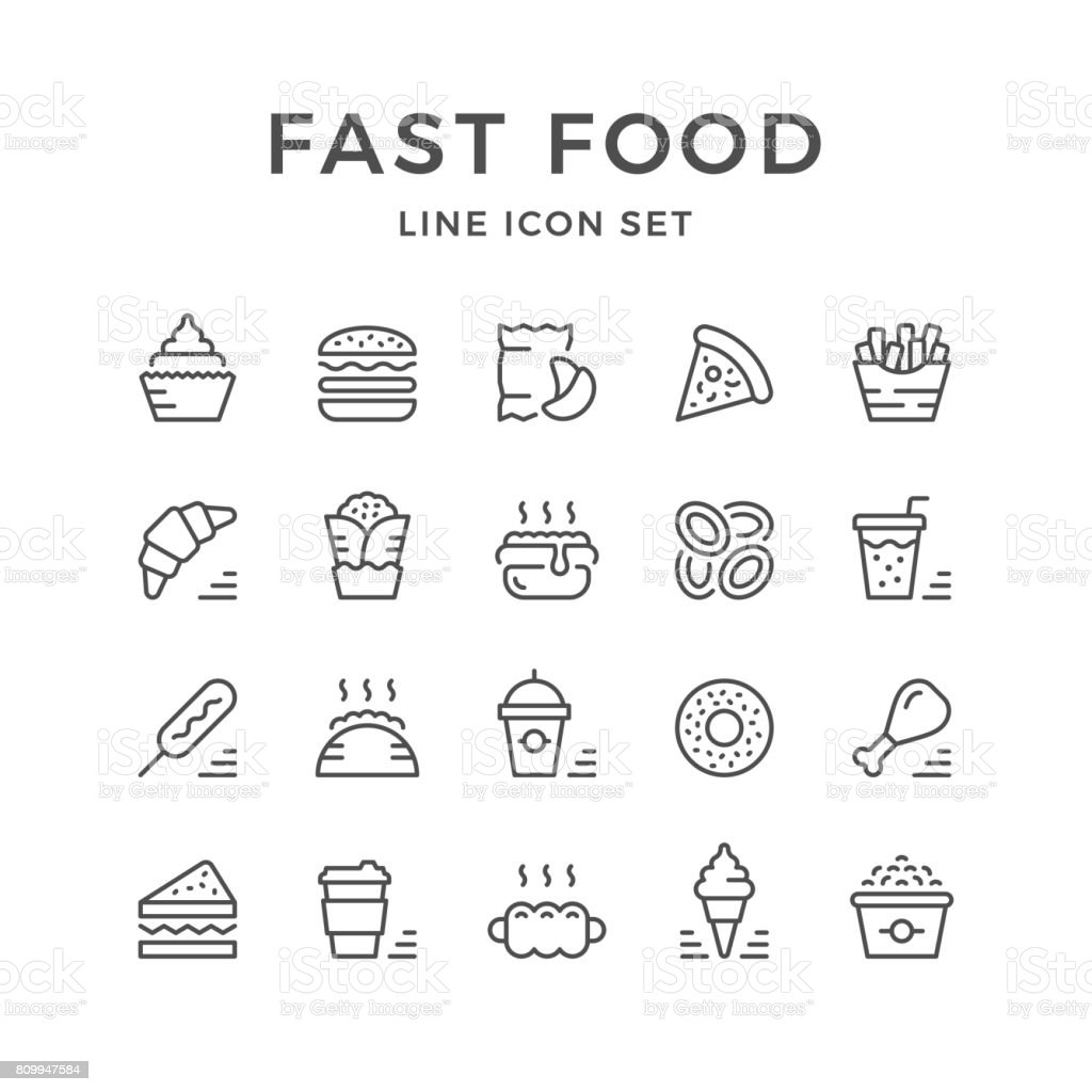 Set line icons of fast food vector art illustration