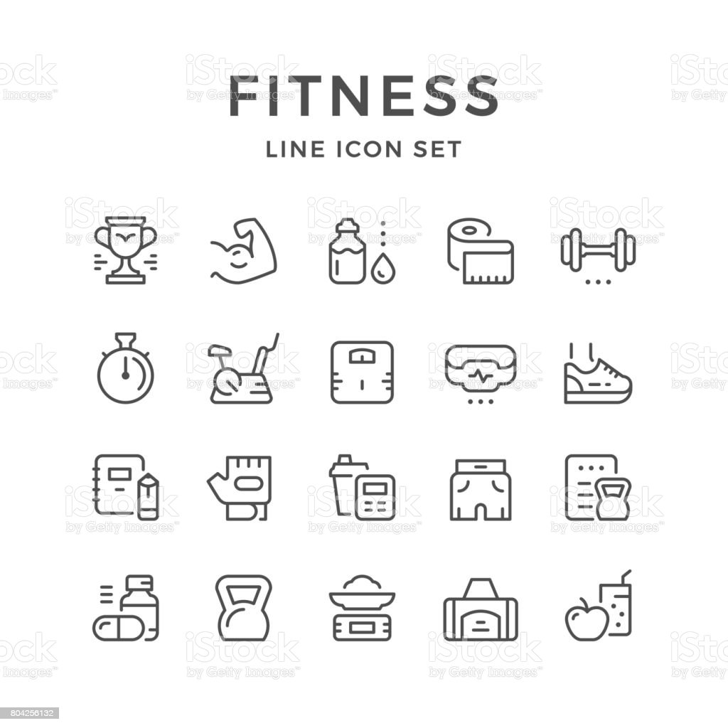 Set line icons of fitness vector art illustration