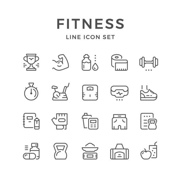 illustrazioni stock, clip art, cartoni animati e icone di tendenza di set line icons of fitness - icon set healthy
