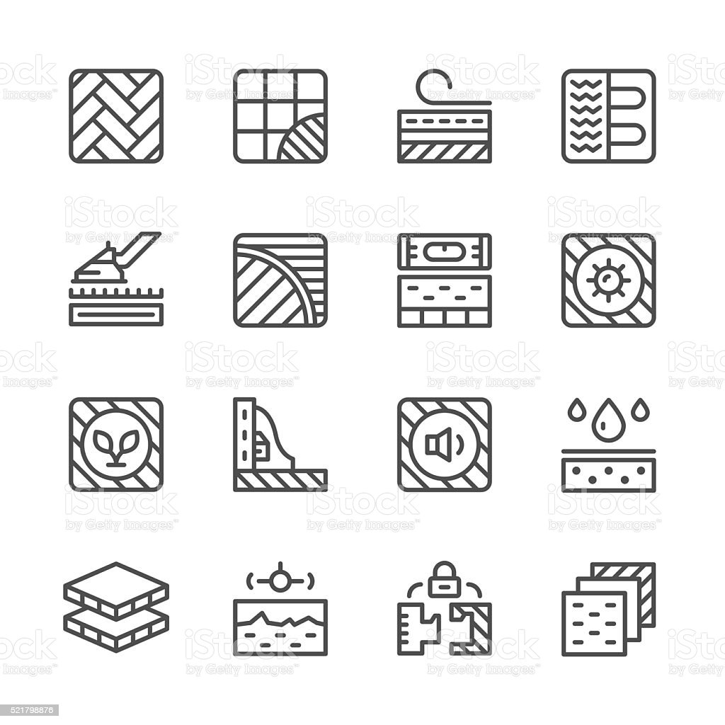 Set line icons of floor vector art illustration