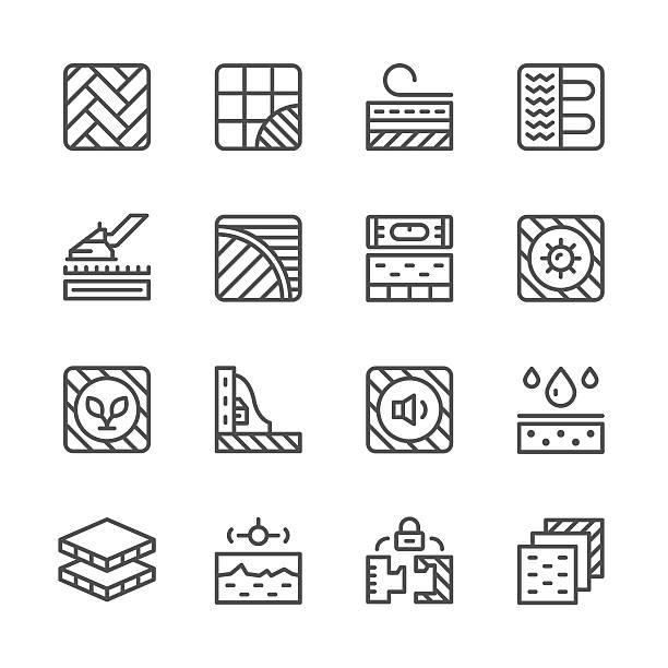 die linie symbole der etage - ziegelwände stock-grafiken, -clipart, -cartoons und -symbole
