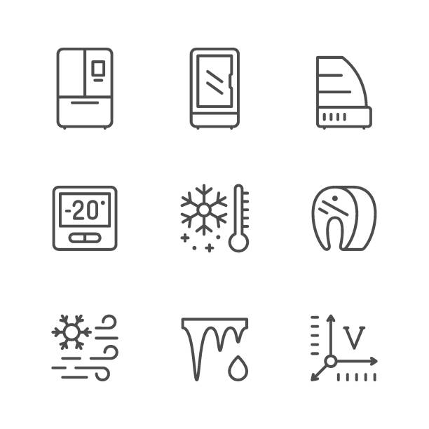Set line icons of fridge Set line icons of fridge, refrigerator, icebox isolated on white. Commercial showcase, control display, meat freezing, defrosting, temperature. Vector illustration refrigerator stock illustrations