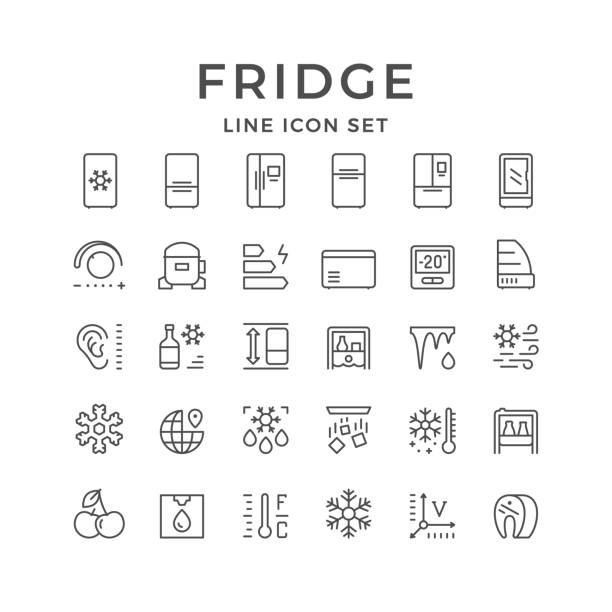 Set line icons of fridge Set line icons of fridge, refrigerator, icebox isolated on white. Compressor, regulator, water cooler, defrosting, noise level, energy class, snowflake. Vector illustration refrigerator stock illustrations