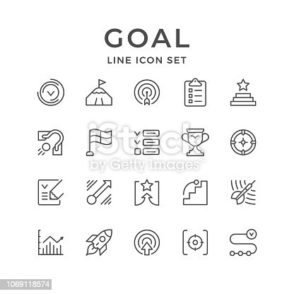 Set line icons of goal isolated on white. Vector illustration