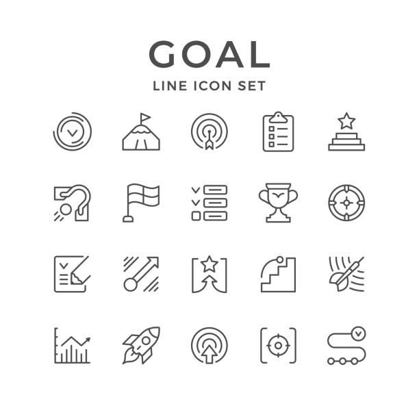 ustawianie ikon linii celu - aspiracje stock illustrations