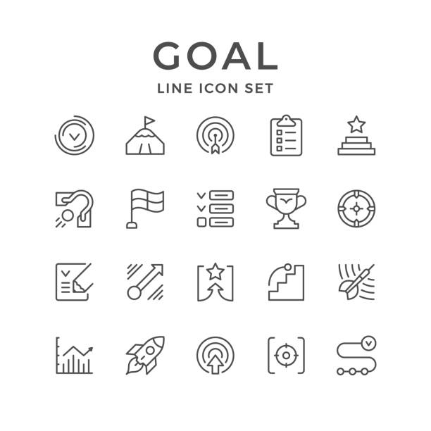 set line icons of goal - объяснять stock illustrations