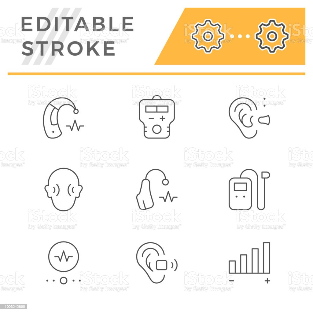 Set Line Icons Of Hearing Aid Stock Vector Art More Images Of