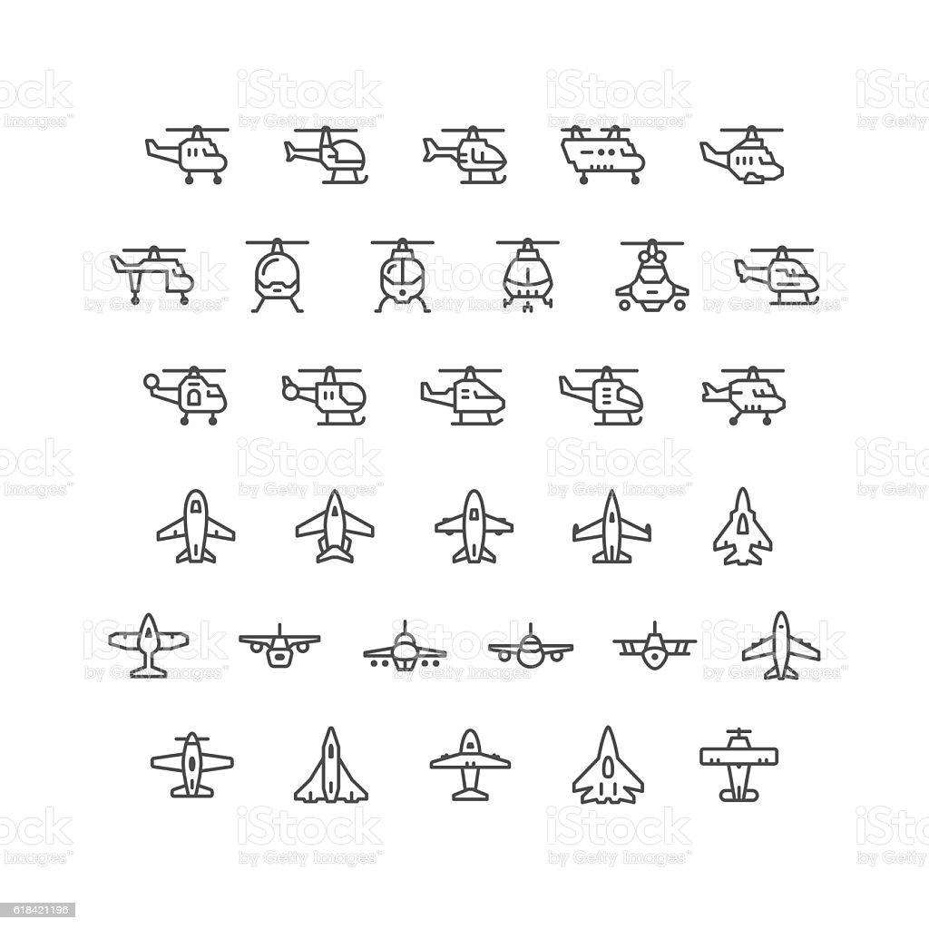 Set line icons of helicopters and planes vector art illustration