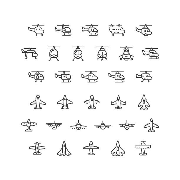 set line icons of helicopters and planes - chopper stock-grafiken, -clipart, -cartoons und -symbole