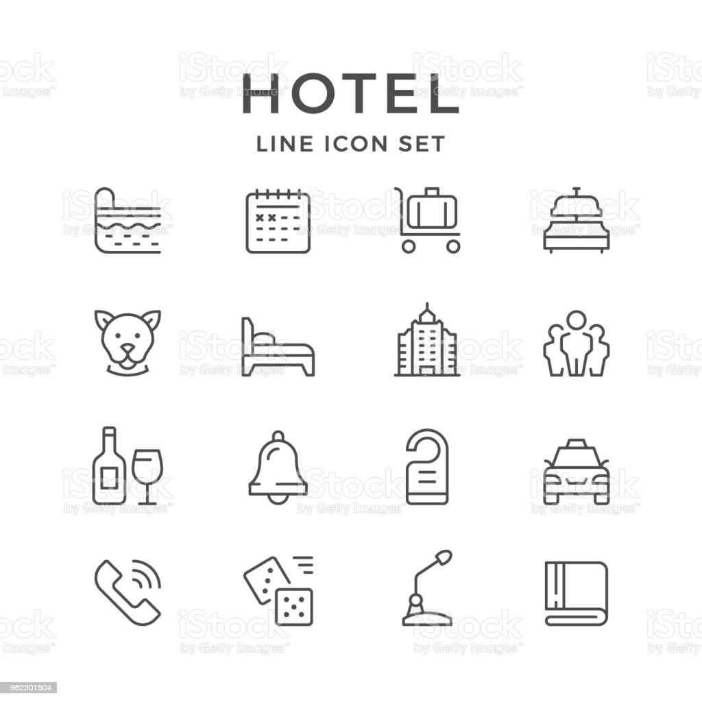 Set line icons of hotel vector art illustration
