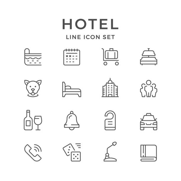set line icons of hotel - save the date calendar stock illustrations, clip art, cartoons, & icons