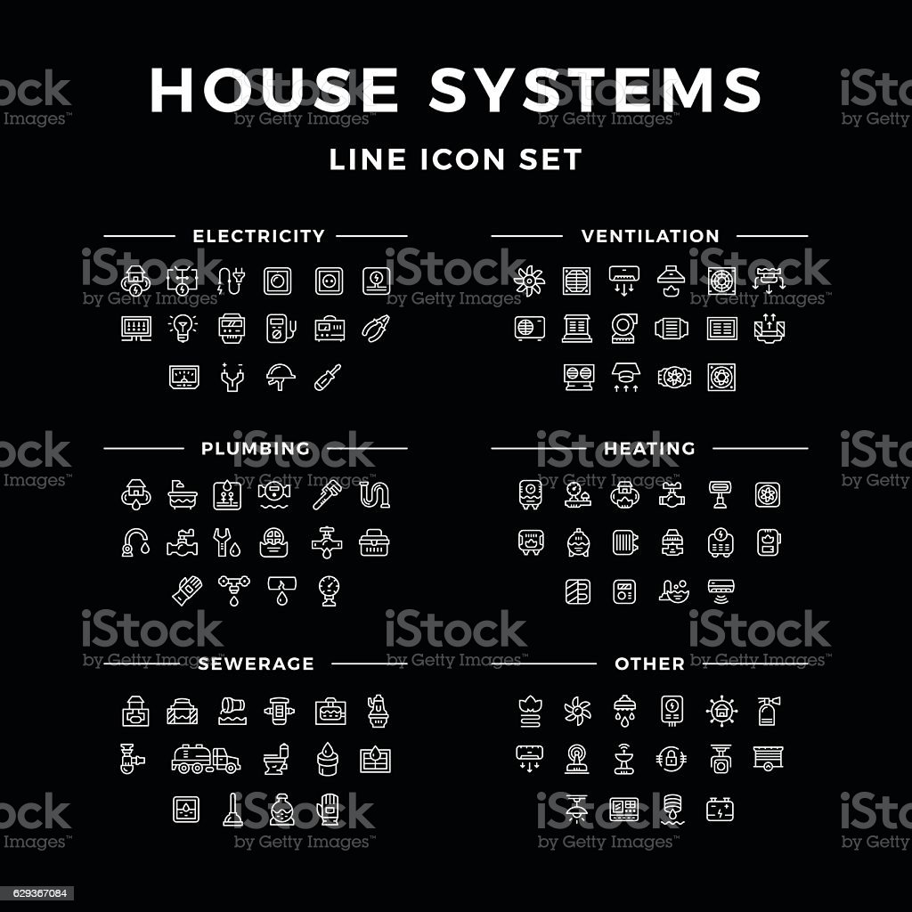 Set line icons of house systems vector art illustration