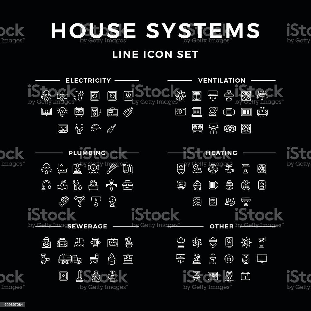 アイコンセットのラインハウスシステム ベクターアートイラスト