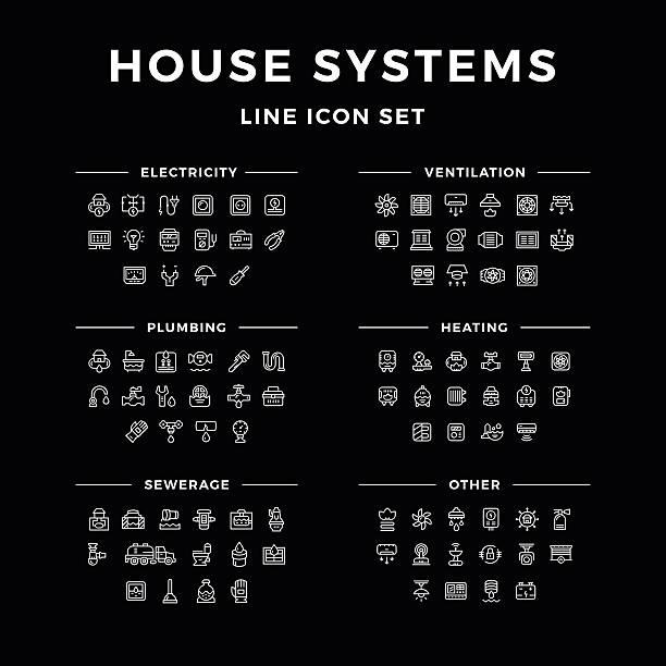 ilustrações, clipart, desenhos animados e ícones de conjunto de ícones de linha de sistemas de casa - eletricista