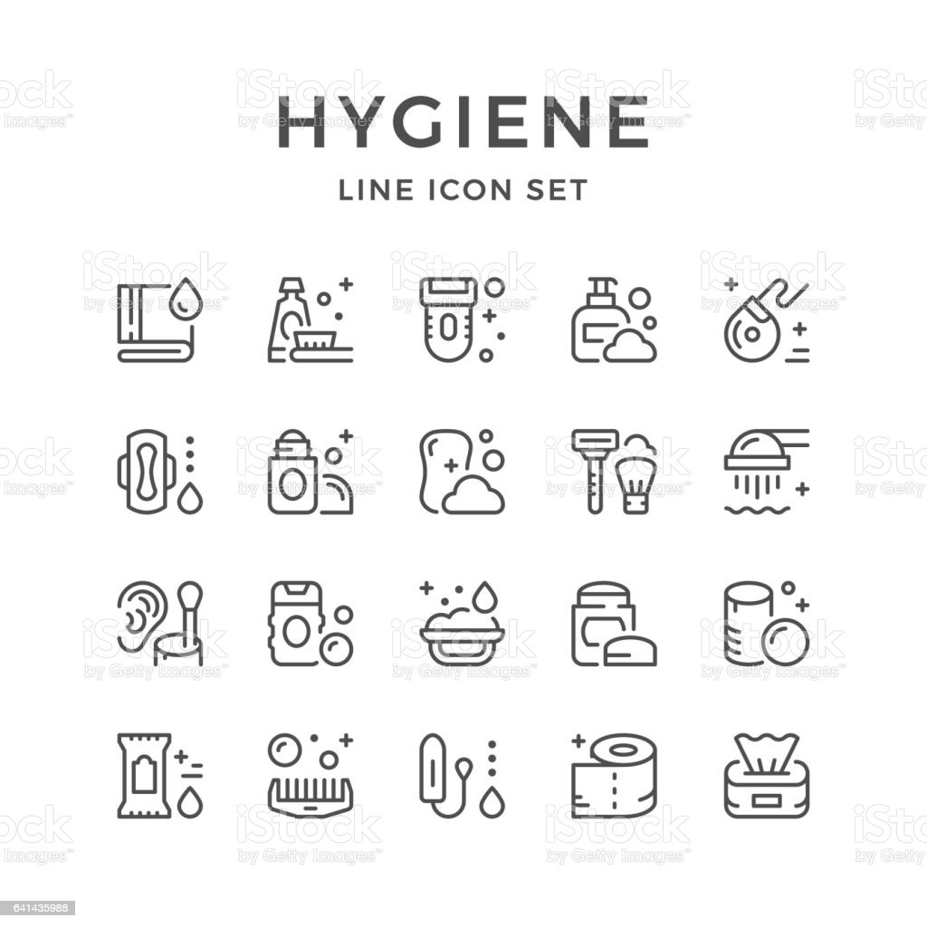 Set line icons of hygiene vector art illustration