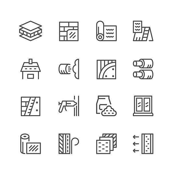 set line icons of insulation - wollteppich stock-grafiken, -clipart, -cartoons und -symbole