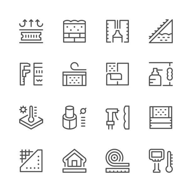 setzleitung ikonen der isolierung - dachboden stock-grafiken, -clipart, -cartoons und -symbole