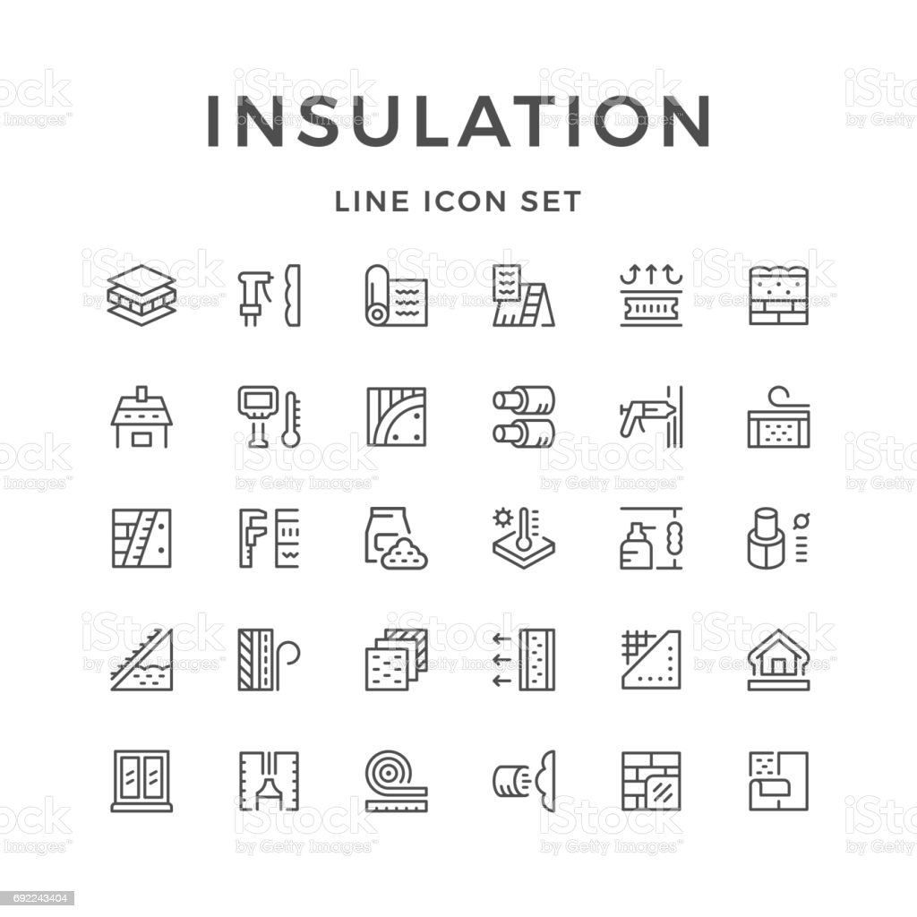 Set line icons of insulation vector art illustration