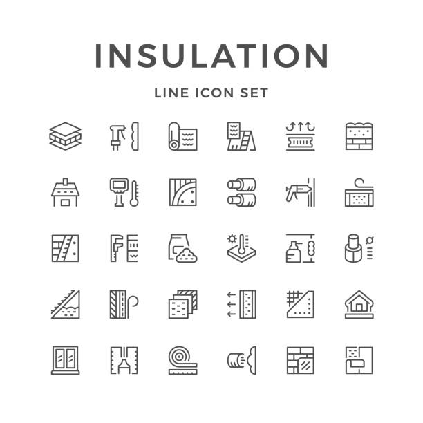 set line icons of insulation - energy saving stock illustrations, clip art, cartoons, & icons