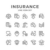 Set line icons of insurance