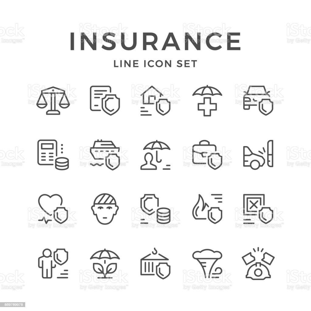 Set line icons of insurance vector art illustration