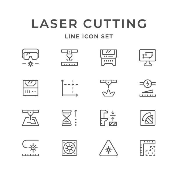 legen sie zeile symbole des laserschneidens - metallverarbeitung stock-grafiken, -clipart, -cartoons und -symbole