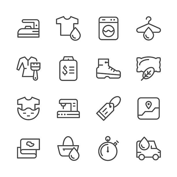set line icons of laundry - bleach stock illustrations