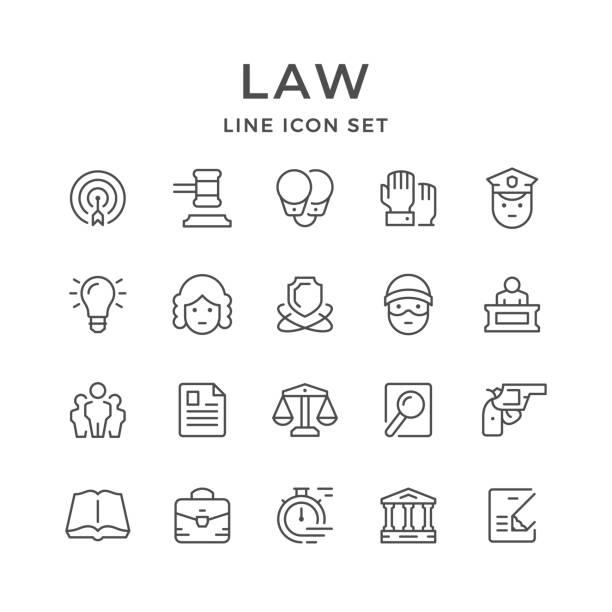 illustrations, cliparts, dessins animés et icônes de la ligne réglée icônes du droit - notaire