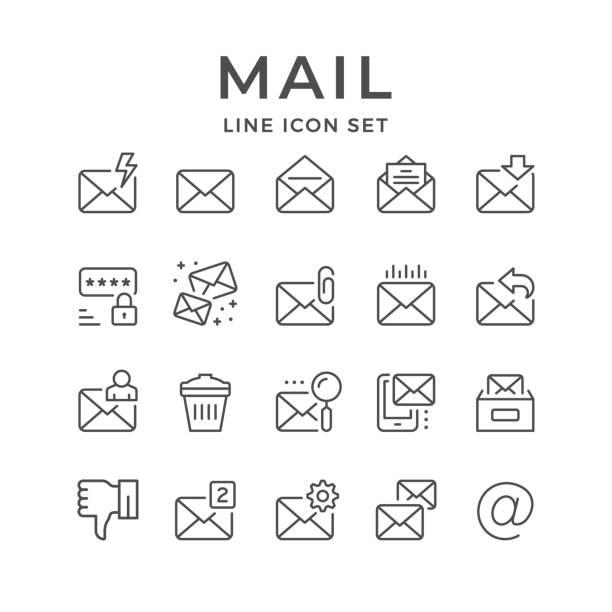 メールの設定の線のアイコン - メール点のイラスト素材/クリップアート素材/マンガ素材/アイコン素材