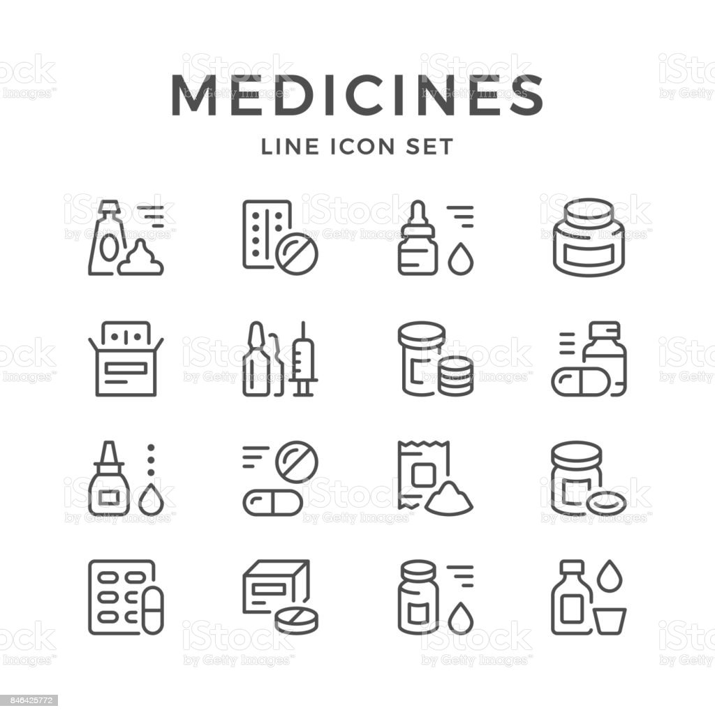 Set line icons of medicines vector art illustration