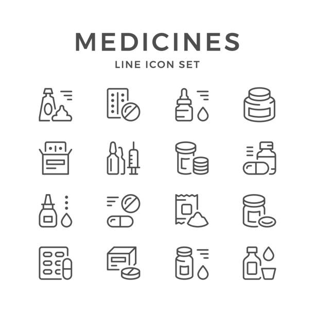 Set line icons of medicines Set line icons of medicines isolated on white. Vector illustration blister stock illustrations