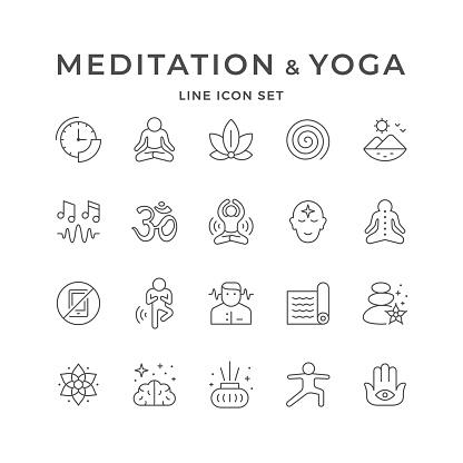 Set line icons of meditation and yoga