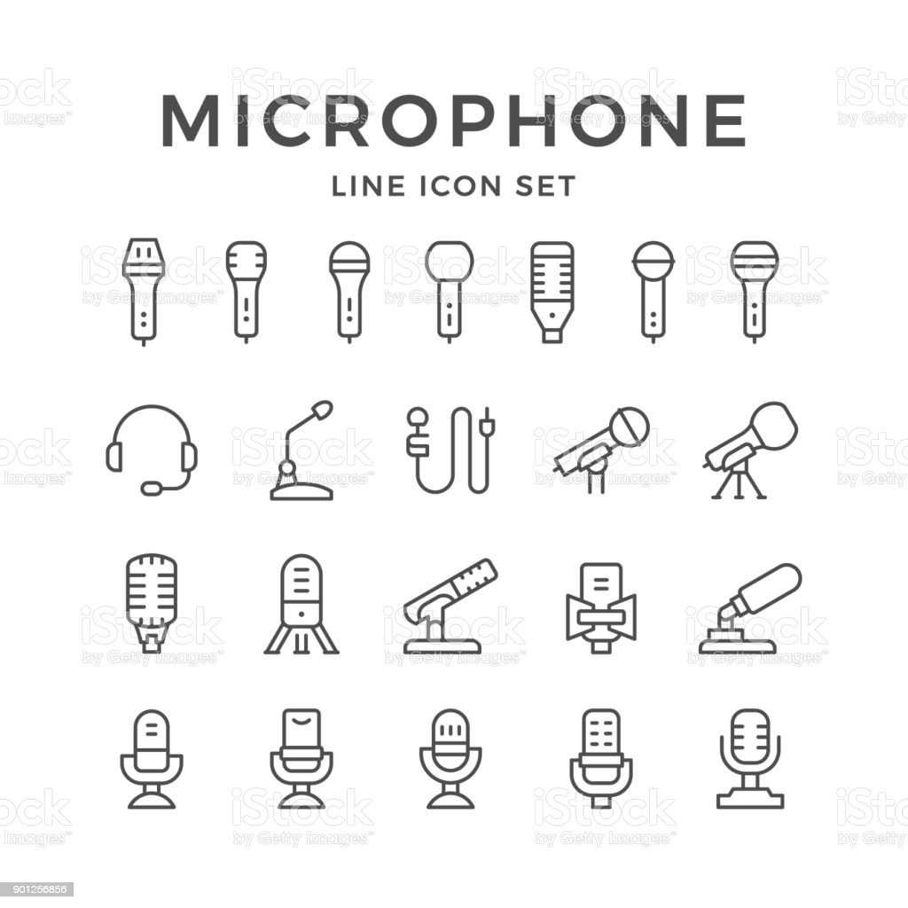 Set line icons of microphone
