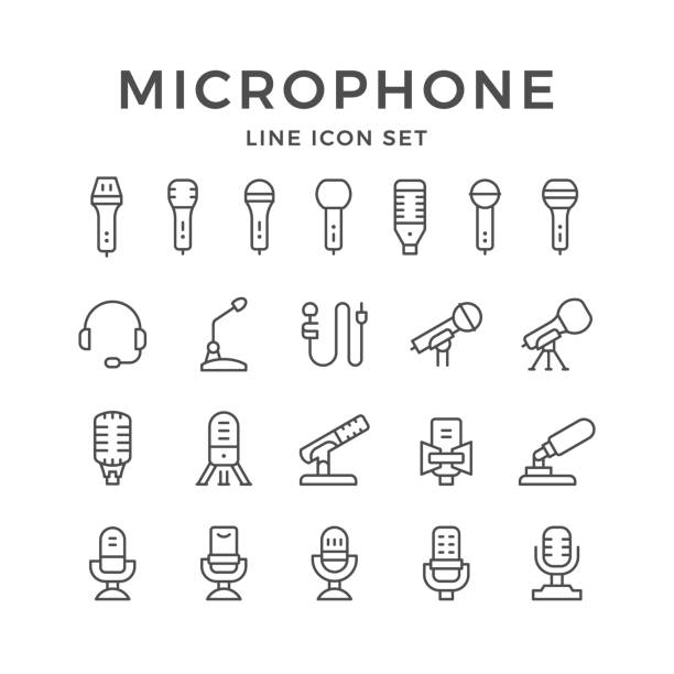 set line icons of microphone - record analog audio stock illustrations