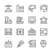 Set line icons of mining