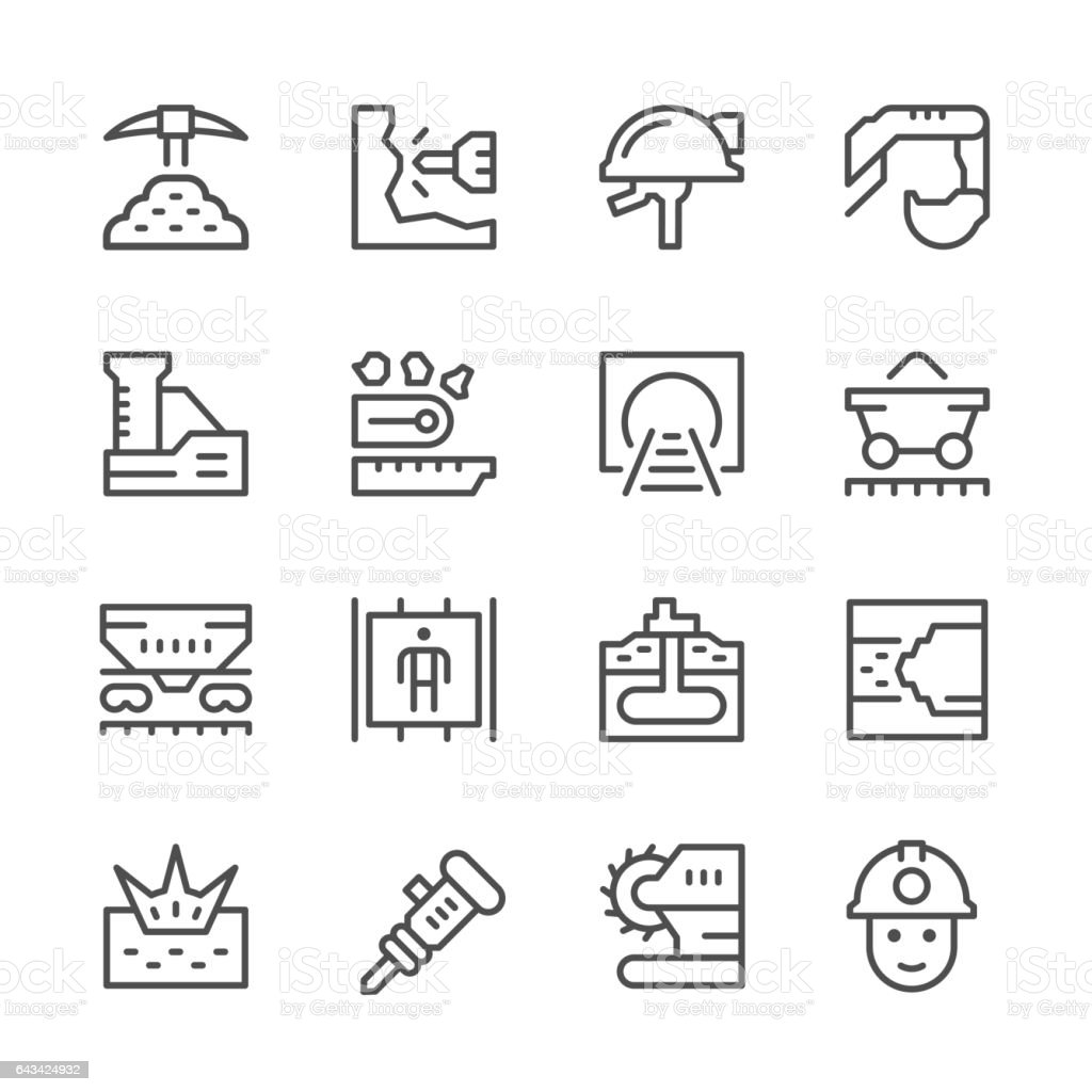 Set line icons of mining vector art illustration