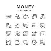 Set line icons of money
