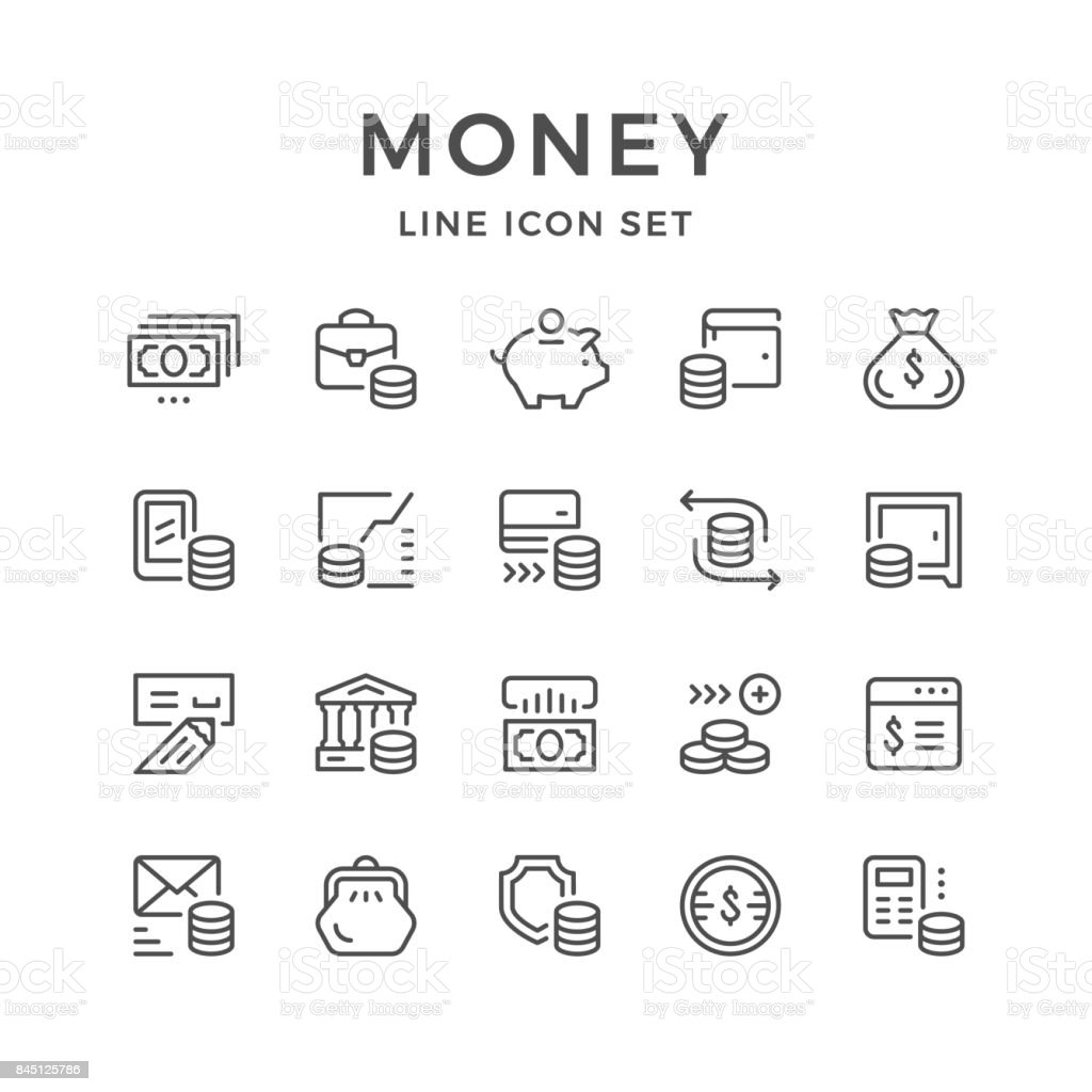 Linha de conjunto de ícones de dinheiro - ilustração de arte em vetor