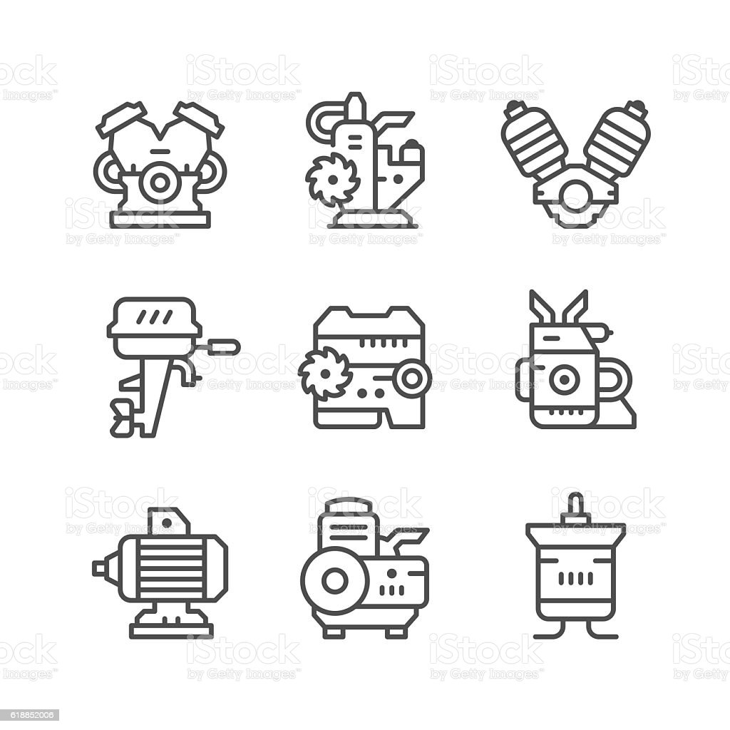 Set line icons of motor and engine vector art illustration