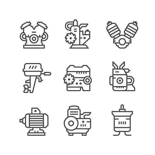 illustrations, cliparts, dessins animés et icônes de set line icons of motor and engine - moteur