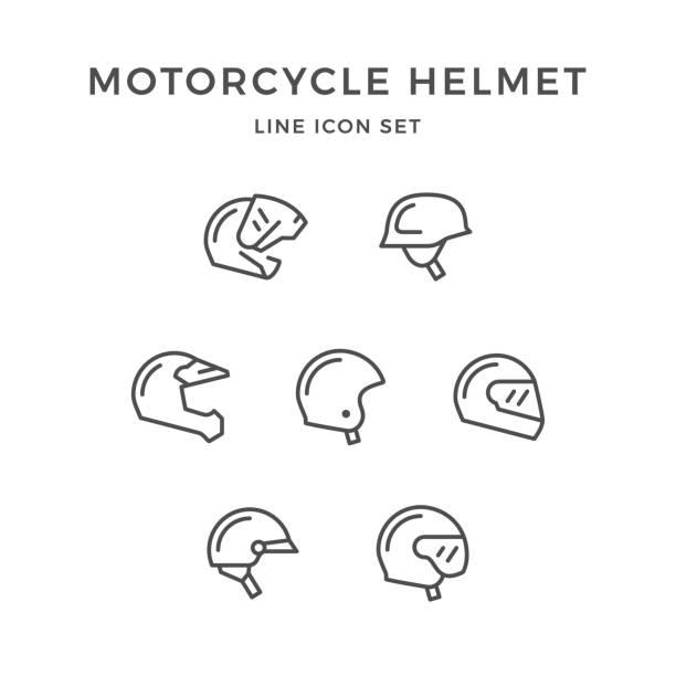 legen sie linie ikonen der motorradhelm - sportschutzhelm stock-grafiken, -clipart, -cartoons und -symbole