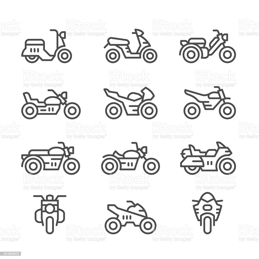 Set line icons of motorcycles vector art illustration