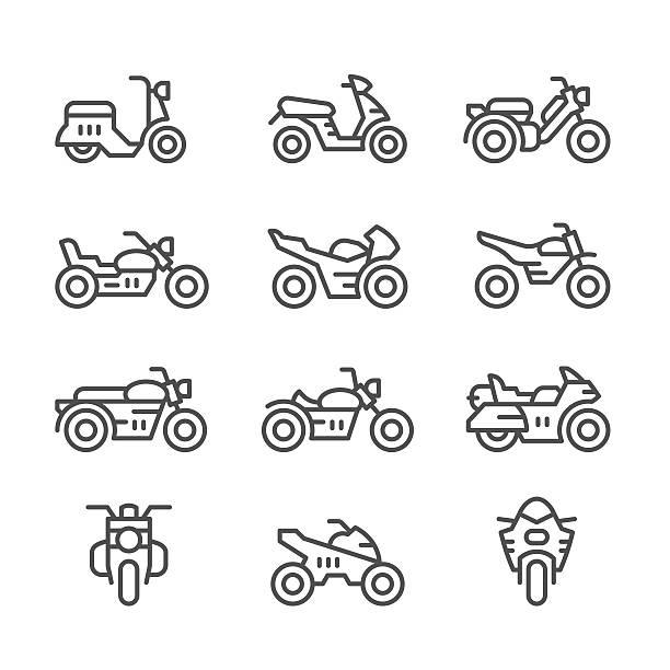 set linie icons von motorrädern - fahrzeug fahren stock-grafiken, -clipart, -cartoons und -symbole